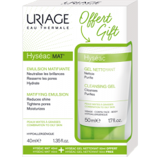Uriage Kit: Hyseac MAT`matistav emulsioon, 40ml + Uriage Hyseac geel 50ml